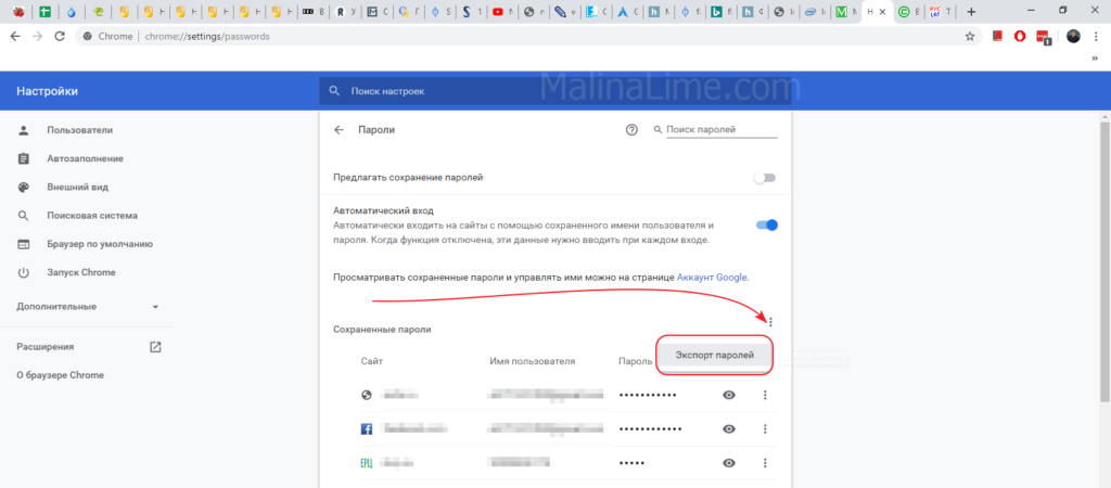 Страница паролей в Google Chrome